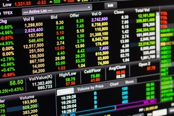 Online stock market on computer screen. For your online stock market background.