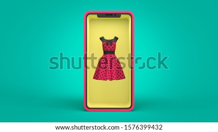 Online store of women's clothing. Smartphone with internet shopping showcase store screen. Virtual purchase retail e-commerce. Red dress in a yellow showcase. 3d illustration on turquoise background