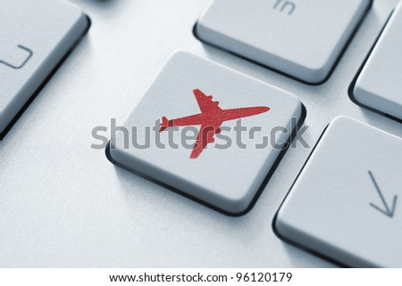 Online tickets key on the keyboard. Toned Image.