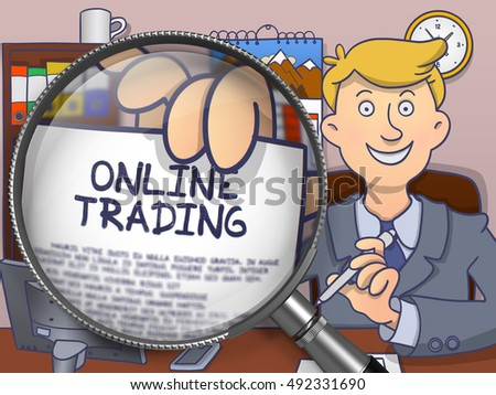 Online Trading on Paper in Officeman's Hand through Lens to Illustrate a Business Concept. Multicolor Doodle Illustration.