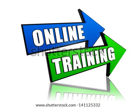 online training - text in 3d arrows, education concept words
