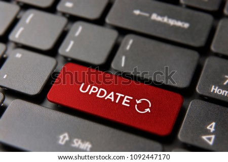 Online Update Computer Keyboard Button For Internet Maintenance Concept Updating Process Keypad Key In Red