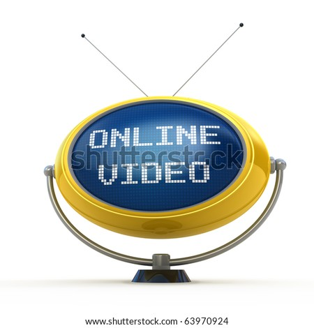 Online video concept isolated on white