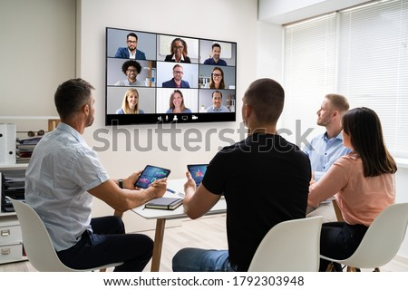 Online Video Conference Training Business Meeting In Office Photo stock ©