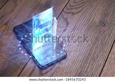 Online voting, Smartphone as a box for Internet voting and e-ballot in the form of a hologram with a check mark. Electronic voting technology concept Foto stock ©