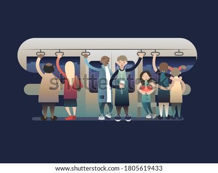 Onlookers passengers in trasport. Transportation train, metro or subway, railway urban, illustration Stock fotó ©