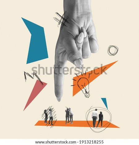 Only ideas can safe the world. Huge female hand choosing people. Modern design, contemporary art collage. Inspiration, idea, trendy urban magazine style. Negative space to insert your text or ad.
