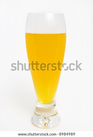only orange juice in high glass over white background