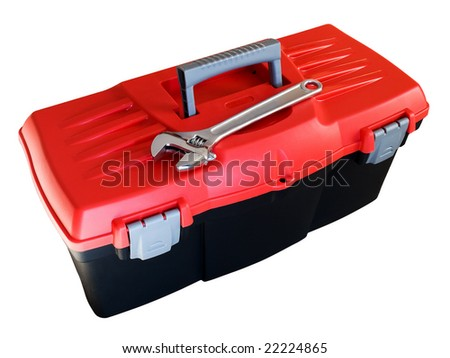 Only plastic toolbox isolated on white background.