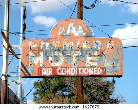 Only Remaining Evidence of 1940's Neon Motel Sign Along Route 66