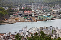 Onomichi, Japan. Cityscape of Onomichi with harbor in the Japanese region of Chugoku.
