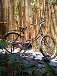 Onthel or roadster bicycle  or also known as buffalo bicycle,  is a standard type of bicycle with 28 inch tires which was commonly used by urban communities until the late 1970s