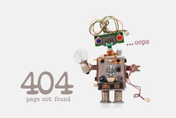 Oops 404 error page not found. Futuristic robot concept with electrical wire hairstyle. Circuits socket chip toy mechanism, funny head, colored eyes, light bulb in hand. beige background.