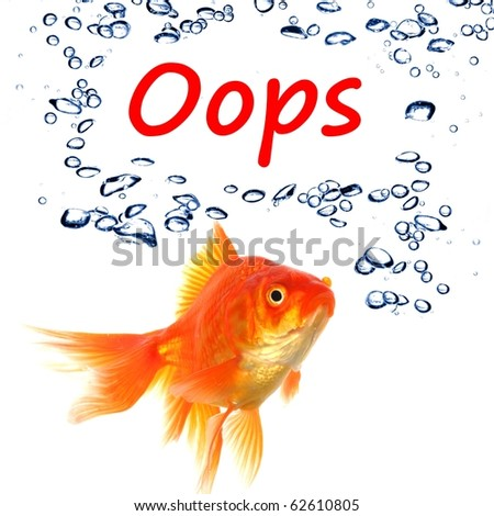 oops word and goldfish showing accident failure or danger danger warning concept