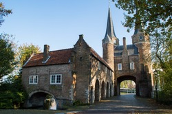 Oostpoort, medieval tower, near the old center of Delft, The Netherlands