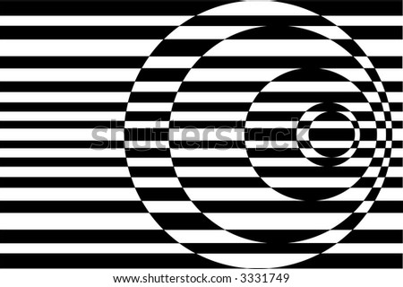 Op Art Contrasting Concentric Circles Black and White - stock photo