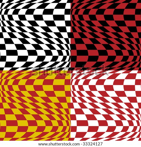 Op art pattern #4 in four color combinations. 6-inch repeat. Vector also available.
