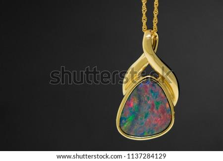 Opal pendant and necklace. Elegant design. Australian Opal.
