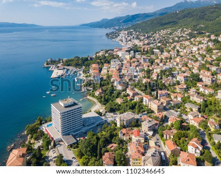 Opatija  - town in western Croatia. Known for its Mediterranean climate and its historic buildings reminiscent of the Austrian Riviera. Aerial shot