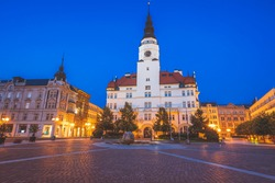 Opava city hall at night. Opava, Moravian-Silesian, Czechia.