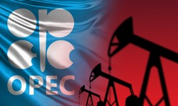 OPEC. Organization of the Petroleum Exporting Countries. OPEC logo next to oil rigs. silhouettes of oil pumps. Oil production. Concept - negotiations to contain production. Restriction.
