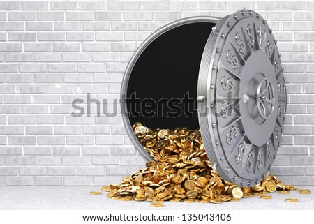 open a bank vault with a bunch of gold coins.