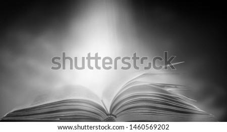 Open a magical magic book with a dark background. #1460569202