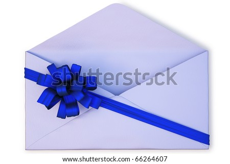 open a paper envelope tied with blue ribbon and bow. isolated on white with clipping path.