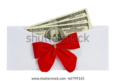 open a paper envelope with the dollars and  bow. isolated on white