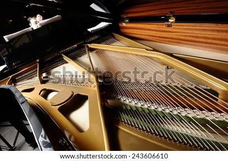 open a piano, strings.