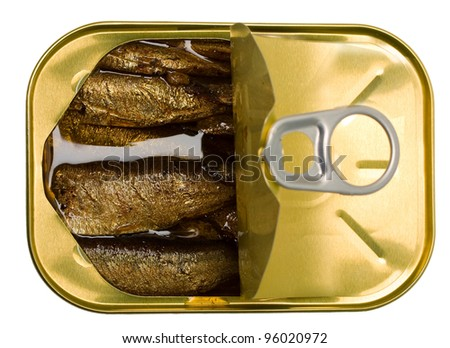 open a tin of sprats isolated on a white background