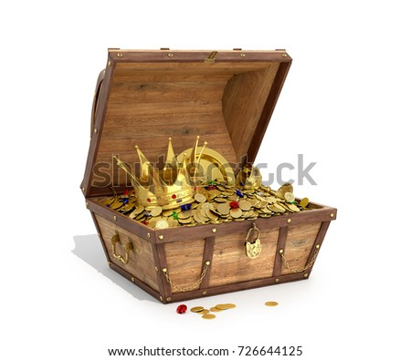 Open a wooden trunk with treasures on a white background. 3D illustration Сток-фото ©