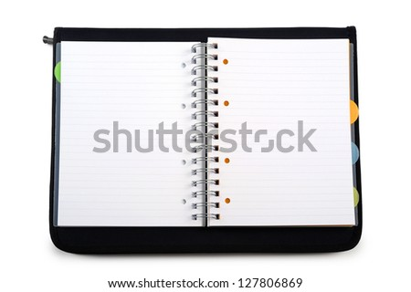 open agenda with black cover, on white background