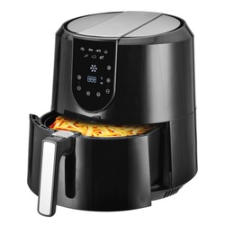 Open Air Fryer Isolated. Black  Electric Deep Fryer Side Front View. Silver Modern Domestic Household & Small Kitchen Appliances. 1800 Watts Convection Oven & 5.2 Liter Capacity Oilless Cooker