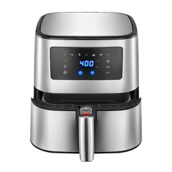 Open Air Fryer Isolated. Brushed Stainless Steel Electric Deep Fryer Front View. Silver Modern Domestic Household & Small Kitchen Appliances. 1500 Watts Convection Oven & 5.3 Quart Oilless Cooker