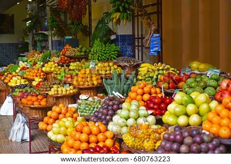 Shutterstock Open air market. Madeira's fruits.
