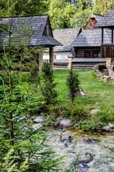 Open-air museum of the Orava village, Zuberec, Slovak republic. Architectural theme.