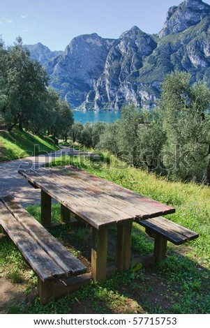 Open air picnic table on the beautiful summer day by the Lago di Garda, Lake Garda, Trento, Italy