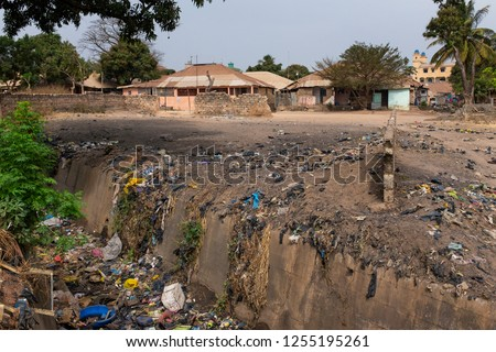 Open air sewer near a residential area at the Bandim Neighbourhood if the city of Bissau. Health and sanitary conditions are poor in Guinea Bissau, wich is one of the poorest countries in the world
