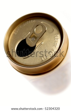 Open aluminum drink can closeup