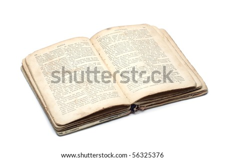 Open an ancient religious book on a white background
