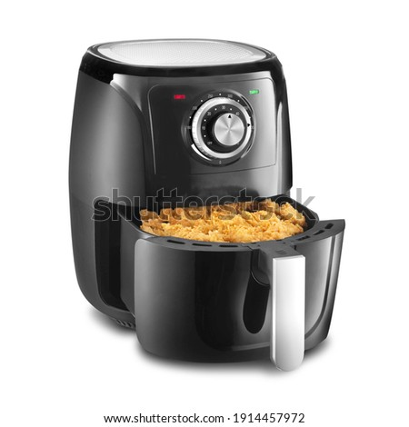 Open Analog Hot Air Fryer Isolated. Black Plastic Stainless Steel 1500 Watts Electric Deep Fryer with Food Side View. Modern Domestic Small Kitchen Appliances. Convection Oven 5 Quart Oilless Cooker Foto stock ©