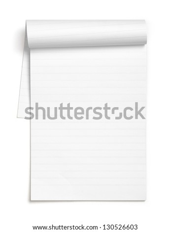 Open and blank pages of a notebook/notepad, isolated on white background.