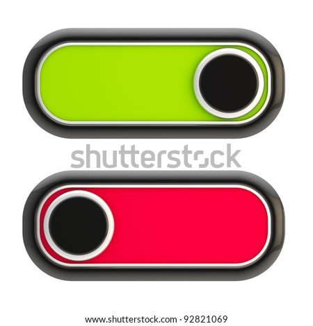 Open and close: glossy red and green slider locks isolated on white