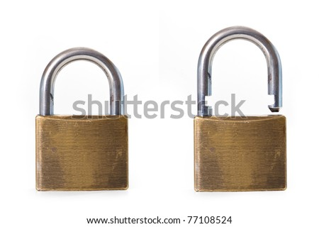 Open and close padlock isolated on white background. - stock photo