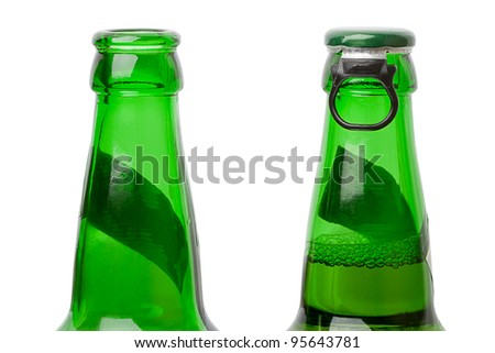 Open and closed beer bottles. Isolated on white background