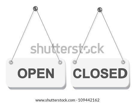 Open and closed door signs board isolated on white