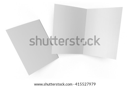Open and closed folder isolated on white background. This mockup template includes a clipping path for easy selection of the booklet cover. #415527979