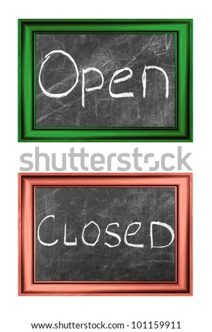 Open and closed signs white chalk handwriting in  wood frames