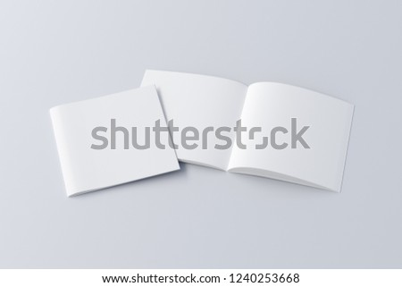 Open and closed square blank booklet on white background with clipping path around booklets. 3d illustration